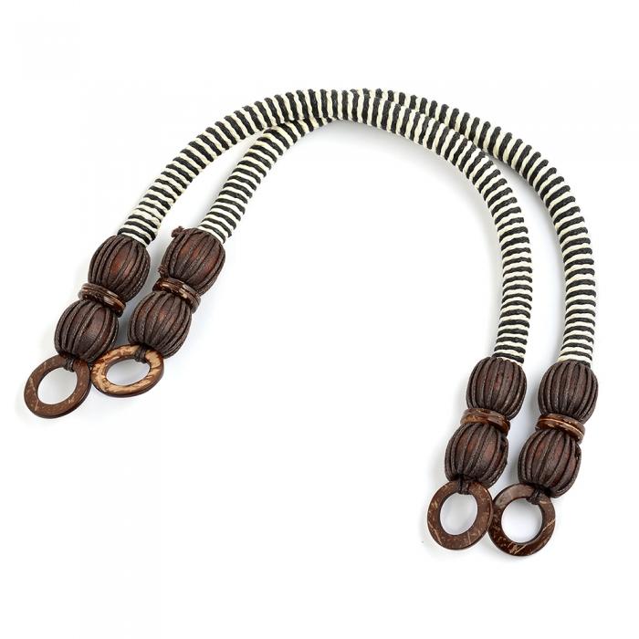 Ручка для сумки, арт.МН-01952-2, вощен.шнур , длина 42см, цв.коричнево/белый, уп.2шт