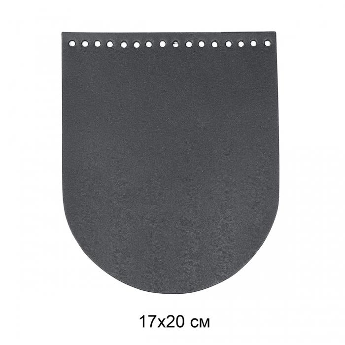 Клапан для сумки овал 17х20 см цв.серый (нат.кожа)