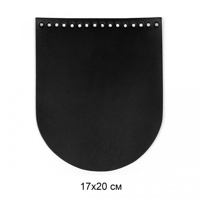 Клапан для сумки овал 17х20 см цв.черный (нат.кожа)
