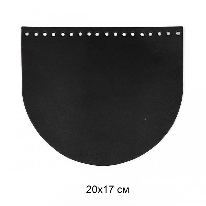 Клапан для сумки полукруг 20х17 см цв.черный (нат.кожа)