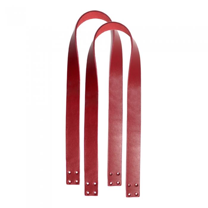 Ручки пришивные 65х2,5 см цв.красный (нат.кожа)