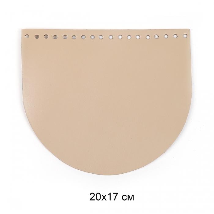 Клапан для сумки полукруг 20х17 см цв.бежевый (нат.кожа)
