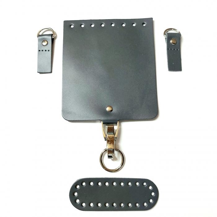 Набор для мини-сумки цв.серый (нат.кожа)