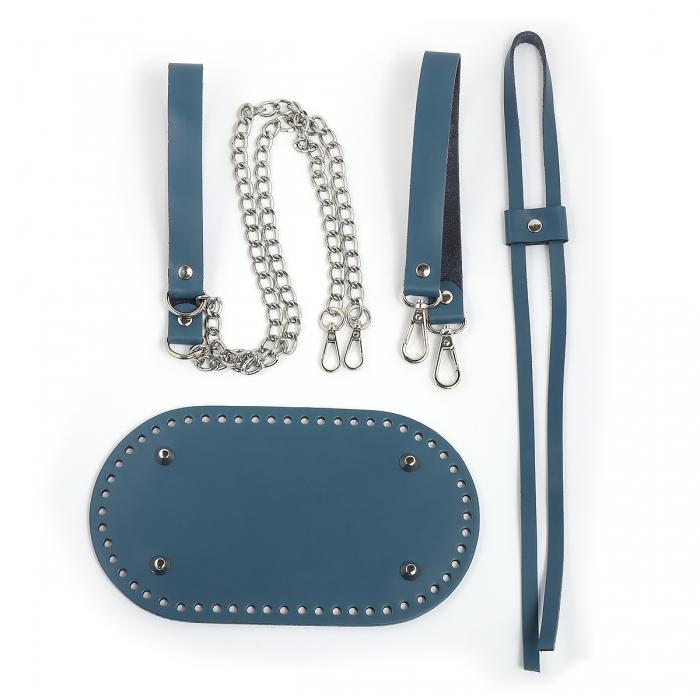 Набор для сумки-торбы цв.джинс (нат.кожа)