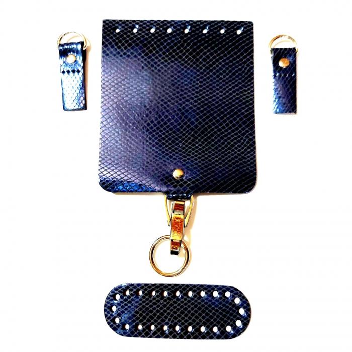 Набор для мини-сумки цв.синий змей (нат.кожа)