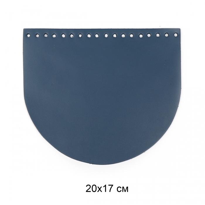 Клапан для сумки полукруг 20х17 см цв.джинс (нат.кожа)