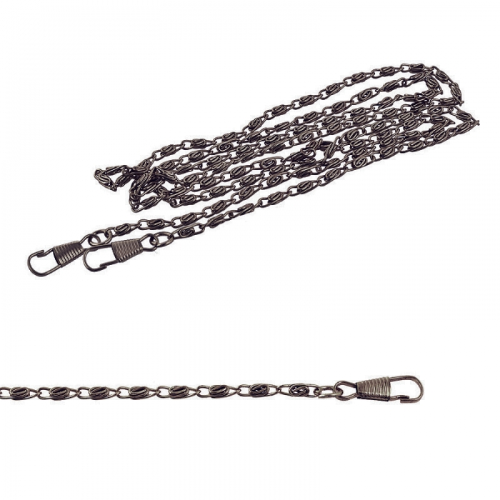 Цепочка для сумки с карабинами металл TBY.107939 1200мм толщ.3,5мм цв.черный никель уп.5шт
