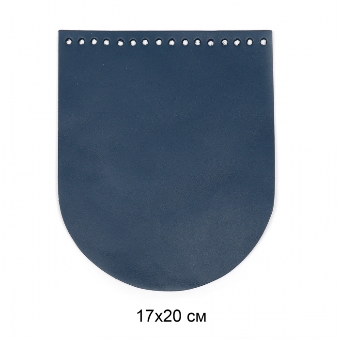 Клапан для сумки овал 17х20 см цв.джинс (нат.кожа)