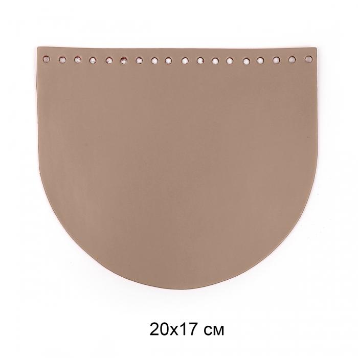 Клапан для сумки полукруг 20х17 см цв.капучино (нат.кожа)