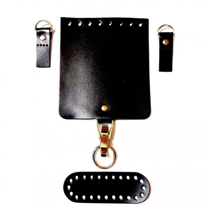 Набор для мини-сумки цв.черный (нат.кожа)
