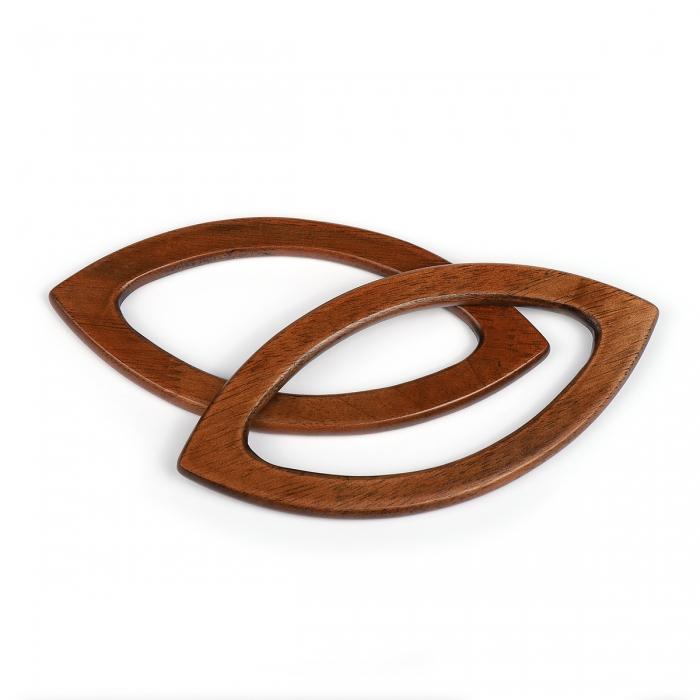 Ручка для сумки, арт.МН-02071-2 дерево, разм 20х9 см, цв.коричневый, уп.2шт