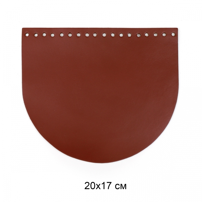 Клапан для сумки полукруг 20х17 см цв.коньяк (нат.кожа)