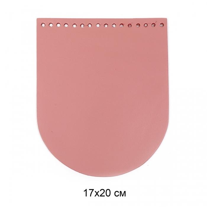 Клапан для сумки овал 17х20 см цв.пудра (нат.кожа)
