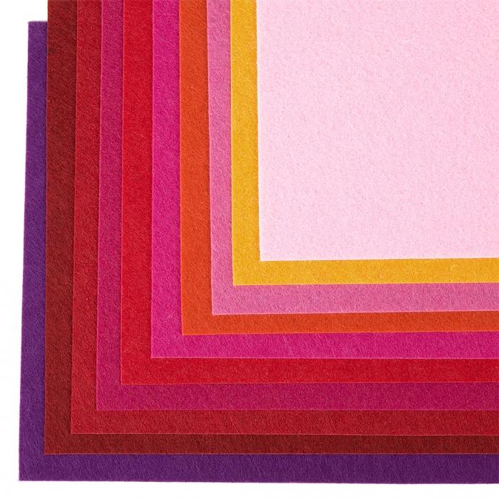 Набор листового фетра (жесткий) IDEAL 1мм 20х30см арт.FLT-HA10 уп.10 листов цв.красный ассорти