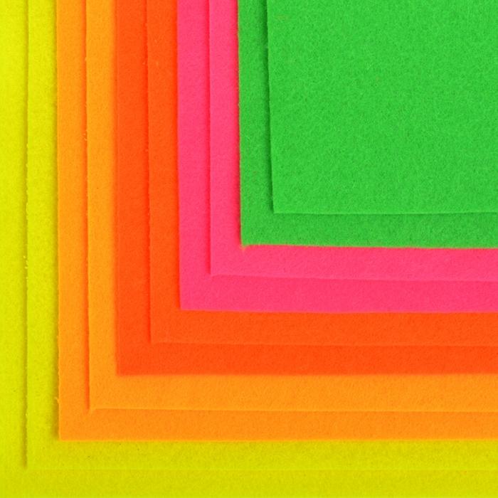 Набор листового фетра флуоресцентный IDEAL 1,4мм 20х30см арт.FLT-FL1 уп.10 листов цв.ассорти