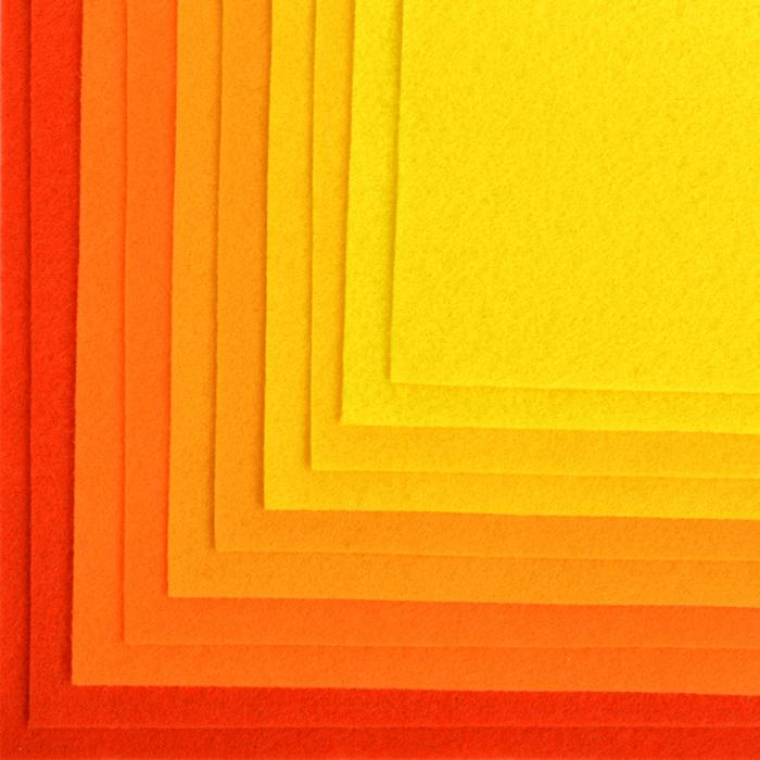 Набор листового фетра (жесткий) IDEAL 1мм 20х30см арт.FLT-HA4 уп.10 листов цв.желтый ассорти