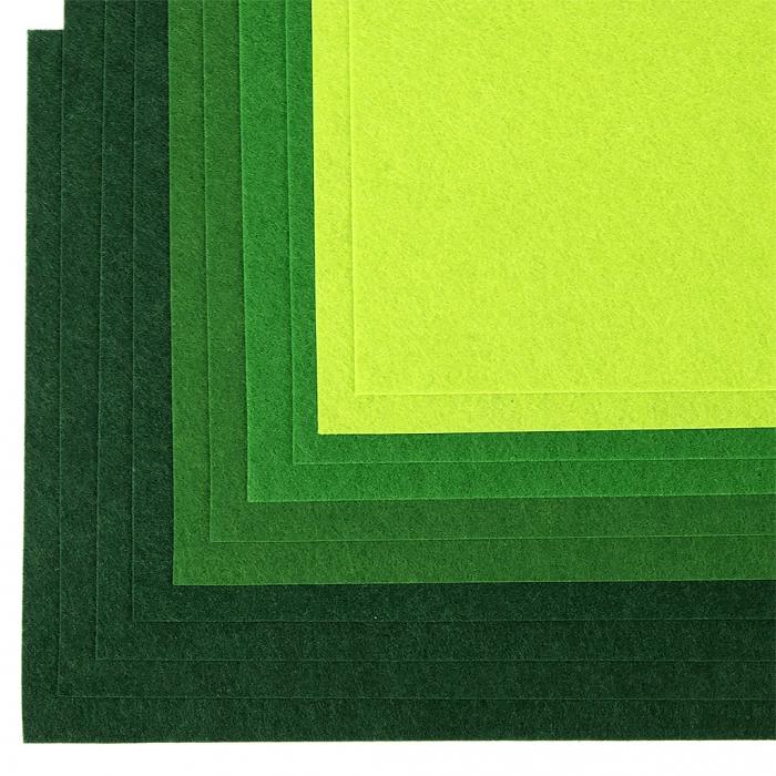 Набор листового фетра (жесткий) IDEAL 1мм 20х30см арт.FLT-HA6 уп.10 листов цв.зеленый ассорти
