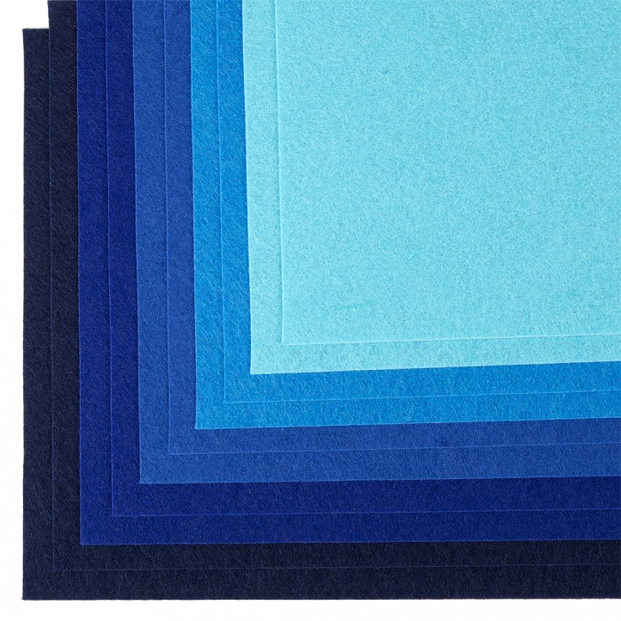 Набор листового фетра (мягкий) IDEAL 1мм 20х30см арт.FLT-SA7 уп.10 листов цв.синий ассорти