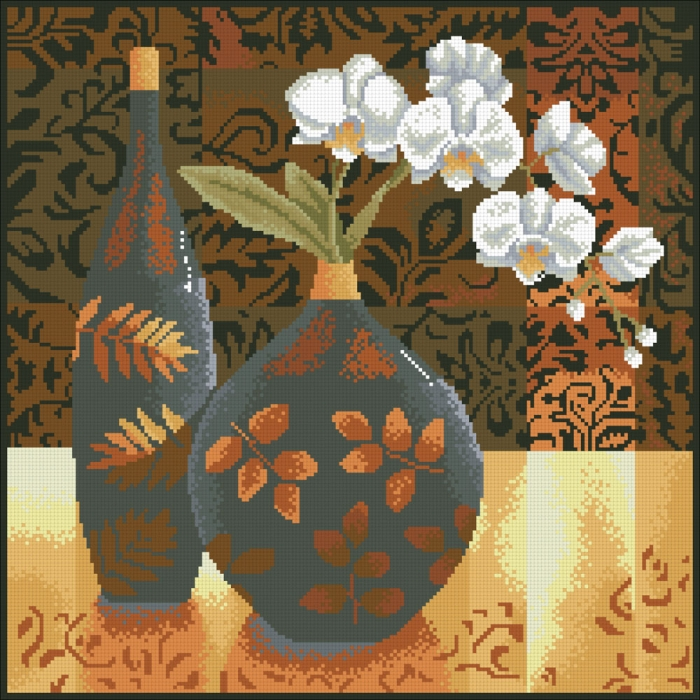 Набор Паутинка для изготовления картины со стразами арт.М230 Натюрморт с орхидеей 45х45 см