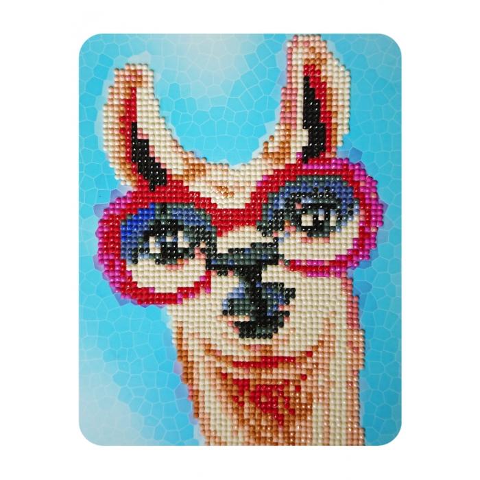 Набор Колор Кит картина алмазная арт.КК.M003 Лама в розовых очках 17х21