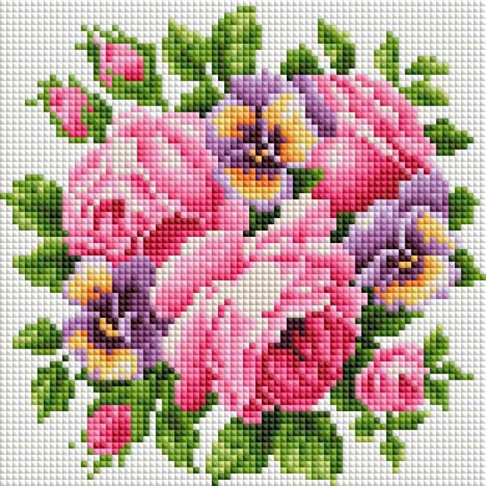 Набор Белоснежка для изготовления картин со стразами арт.БЛ.458-ST-PS Розы и анютины глазки 20х20 см