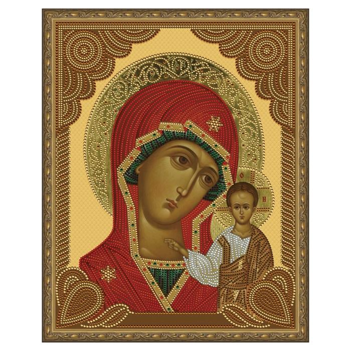 Картина 5D мозаика с нанесенной рамкой Molly арт.KM0789 Казанская Божия Матерь (14 цветов) 40х50 см