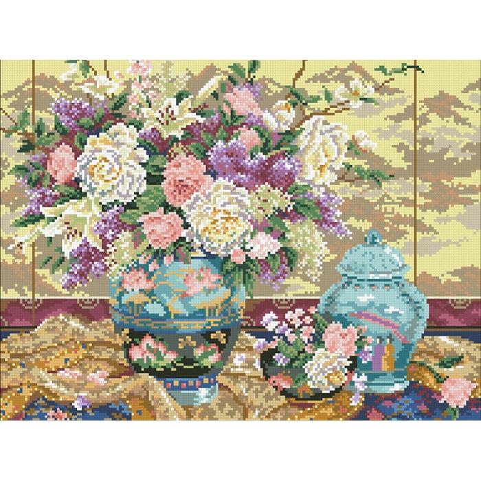Набор Паутинка для изготовления картины со стразами арт.М244 Китайский букет 45х35 см