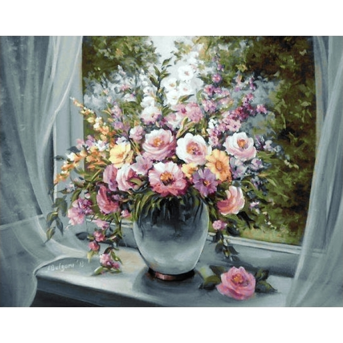 Алмазная мозаика на холсте ГРАННИ арт.Ag670 Цветы на подоконнике 48х38см