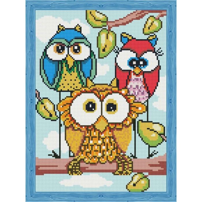 Алмазная вышивка Декоративные Совушки QS200150 30х40 тм Цветной