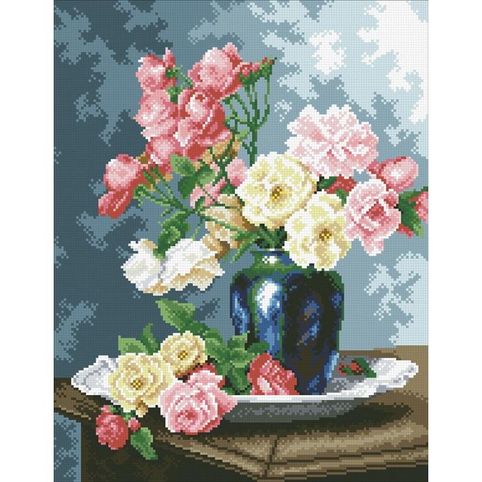 Набор Паутинка для изготовления картины со стразами арт.М253 Ваза с садовыми розами 35х45 см