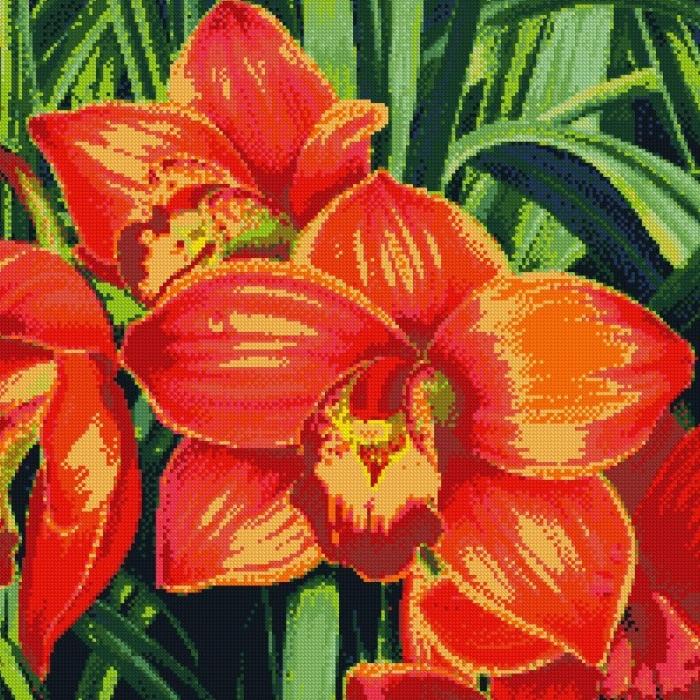 Набор для изготовления картин АЛМАЗНАЯ ЖИВОПИСЬ арт.АЖ.1026 Красные орхидеи 51х51 см