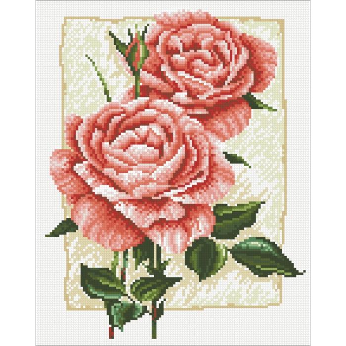 Набор Паутинка для изготовления картины со стразами арт.М224 Садовая роза 27х34 см