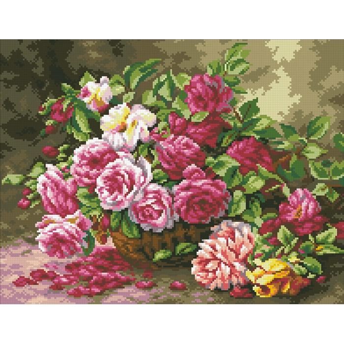 Набор Паутинка для изготовления картины со стразами арт.М254 Корзина садовых роз 45х35 см
