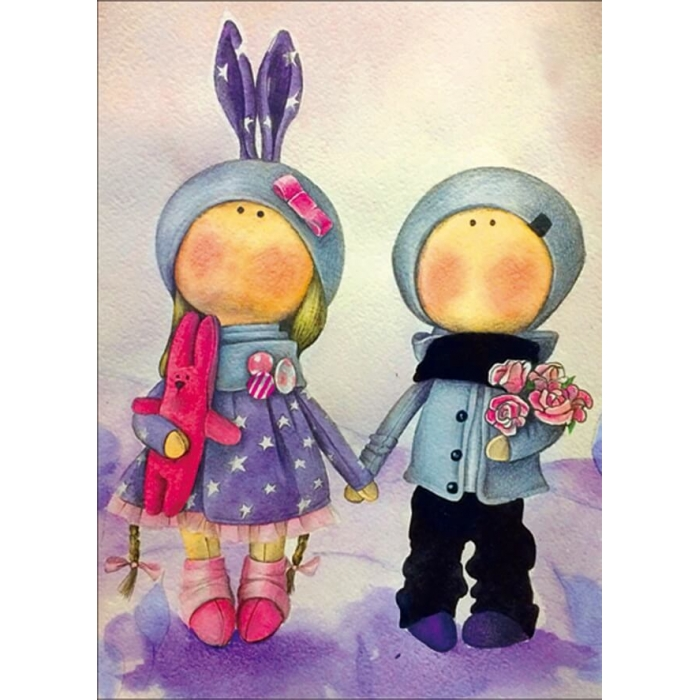 Алмазная вышивка Куклы Аня и Ваня LE048 30х40 тм Цветной