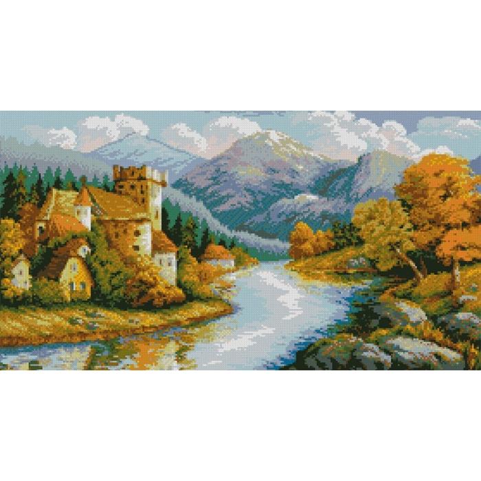 Набор для изготовления картин АЛМАЗНАЯ ЖИВОПИСЬ арт.АЖ.1146 Замок у гор 70х38 см