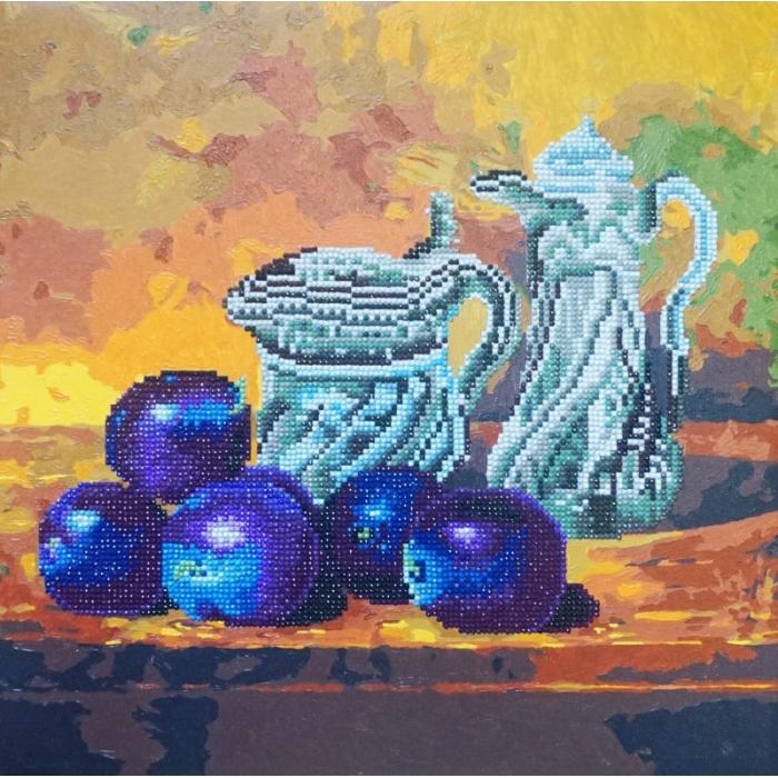 Набор Колор Кит алмазная картина-раскраска арт.КК.RF006 Натюрморт со сливами 40х40