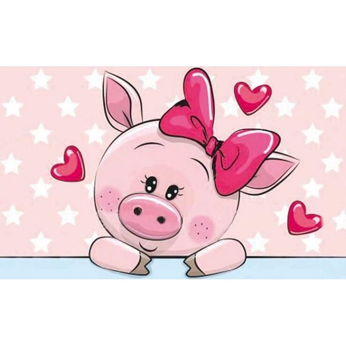 Алмазная вышивка Влюбленная свинка LC007 20х30 тм Цветной
