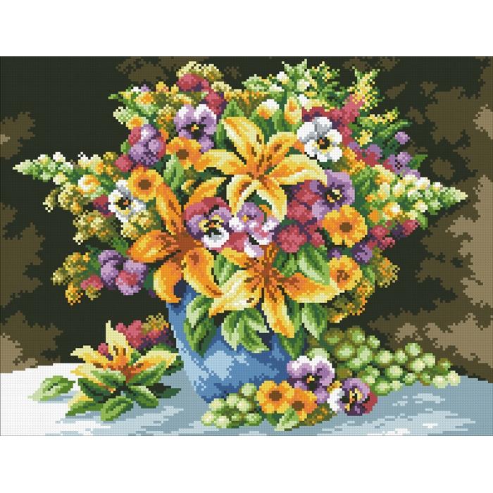 Набор Паутинка для изготовления картины со стразами арт.М255 Букет с лилиями 45х35 см
