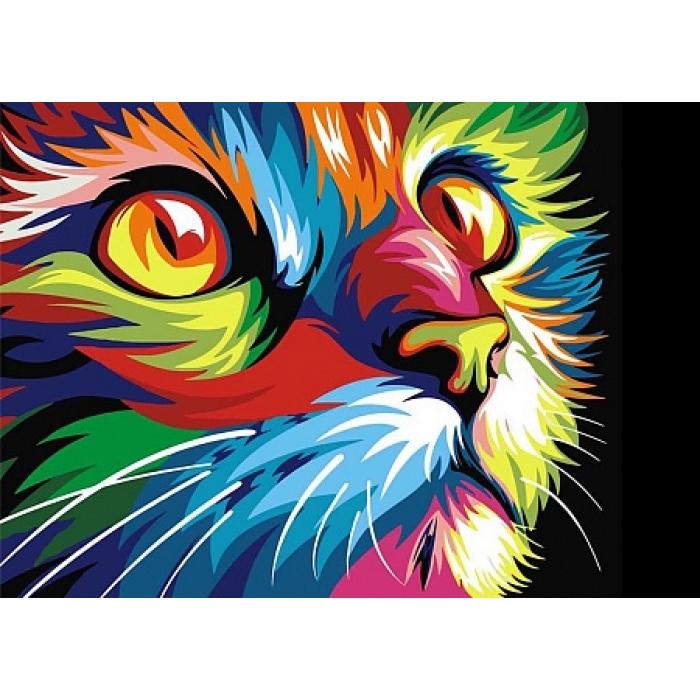 Алмазная мозаика на холсте ГРАННИ арт.Ag478 Радужный кот 38х27см