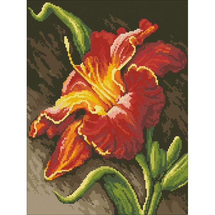Набор Паутинка для изготовления картины со стразами арт.М225 Огненная лилия 30х40 см
