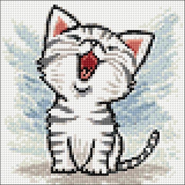 Алмазная мозаика на холсте ГРАННИ арт.Ag2354 Котенок Мяу 20х20см
