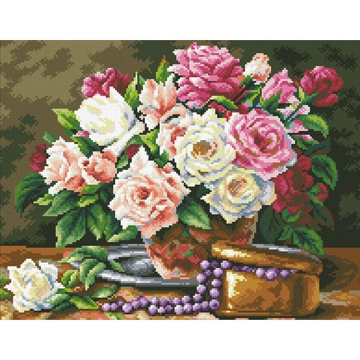 Набор Паутинка для изготовления картины со стразами арт.М250 Розовый букет и бусины 45х35 см