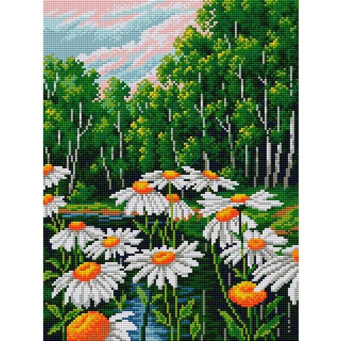 Набор для изготовления картин со стразами Вышиваем бисером арт.ВБ.V-4 Ромашки в лесу 30х40 см