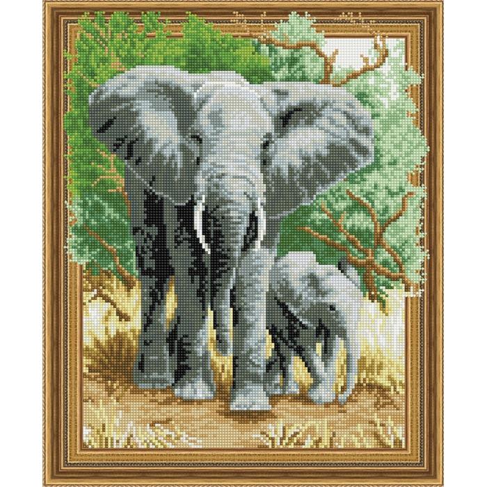 Набор Колор Кит картина алмазная арт.КК.TSGJ1055 Слоны на прогулке 40х50