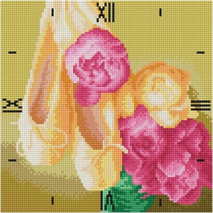 Набор Колор Кит картина со стразами-часы арт.КК.7303004Р Нежность 30х30