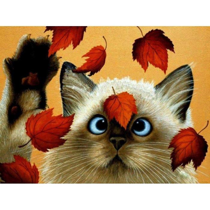 Алмазная мозаика Ah05491 Кот и осенние листья 30х40