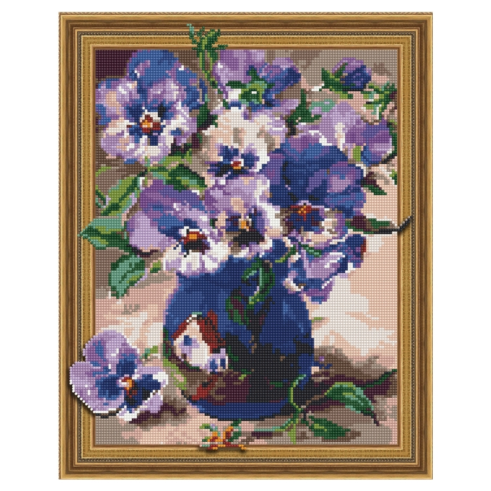 Картина 3D мозаика с нанесенной рамкой Molly арт.KM0748 Анютины глазки (25 цветов) 40х50 см