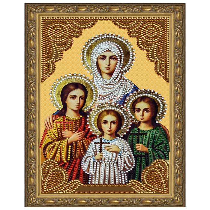 Картина 5D мозаика с нанесенной рамкой Molly арт.KM0711 Вера, Надежда, Любовь и матерь их София (12 цветов) 20х30 см