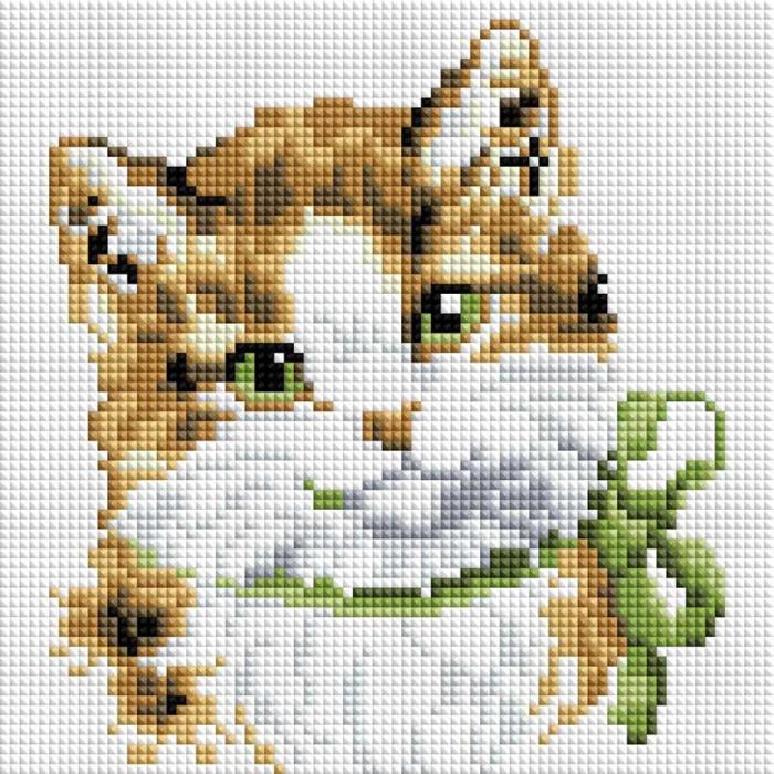 Набор Белоснежка для изготовления картин со стразами арт.БЛ.451-ST-PS Кошка Алиса 20х20 см