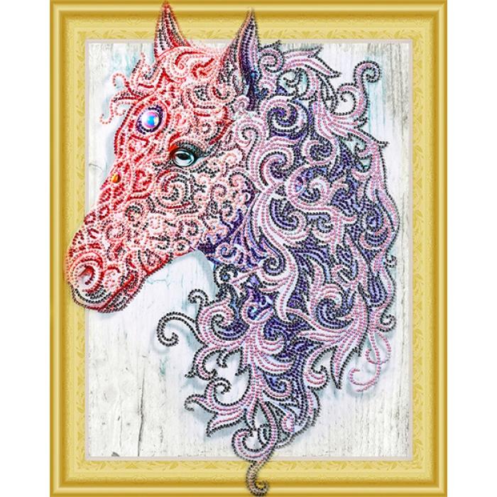 Набор Колор Кит картина алмазная с фигурными стразами арт.КК.FKU005 Аметистовая лошадь 40х50